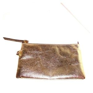 Chicos Gold Metallic Leather Clutch Makeup Bag